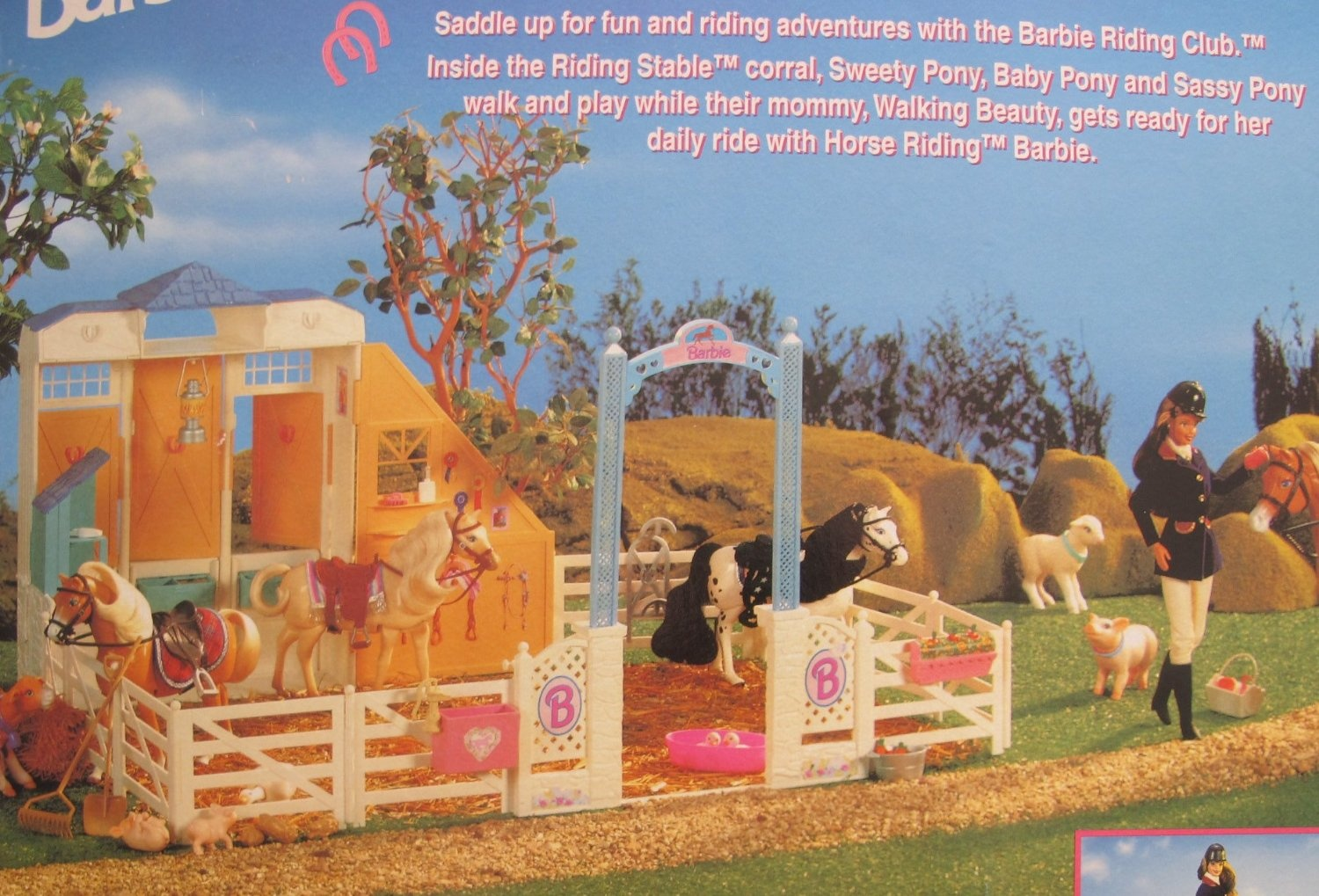 Barbie Riding Club Riding Stable Play Set Playset W Corral Fence Rails More 1996 By Barbie Shop Online For Toys In Australia