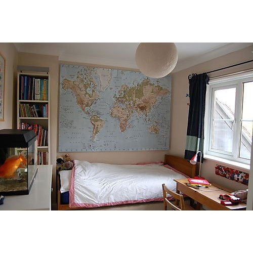 New Ikea Premiar World Map Picture with Frame/canvas Large 140cm X 200cm