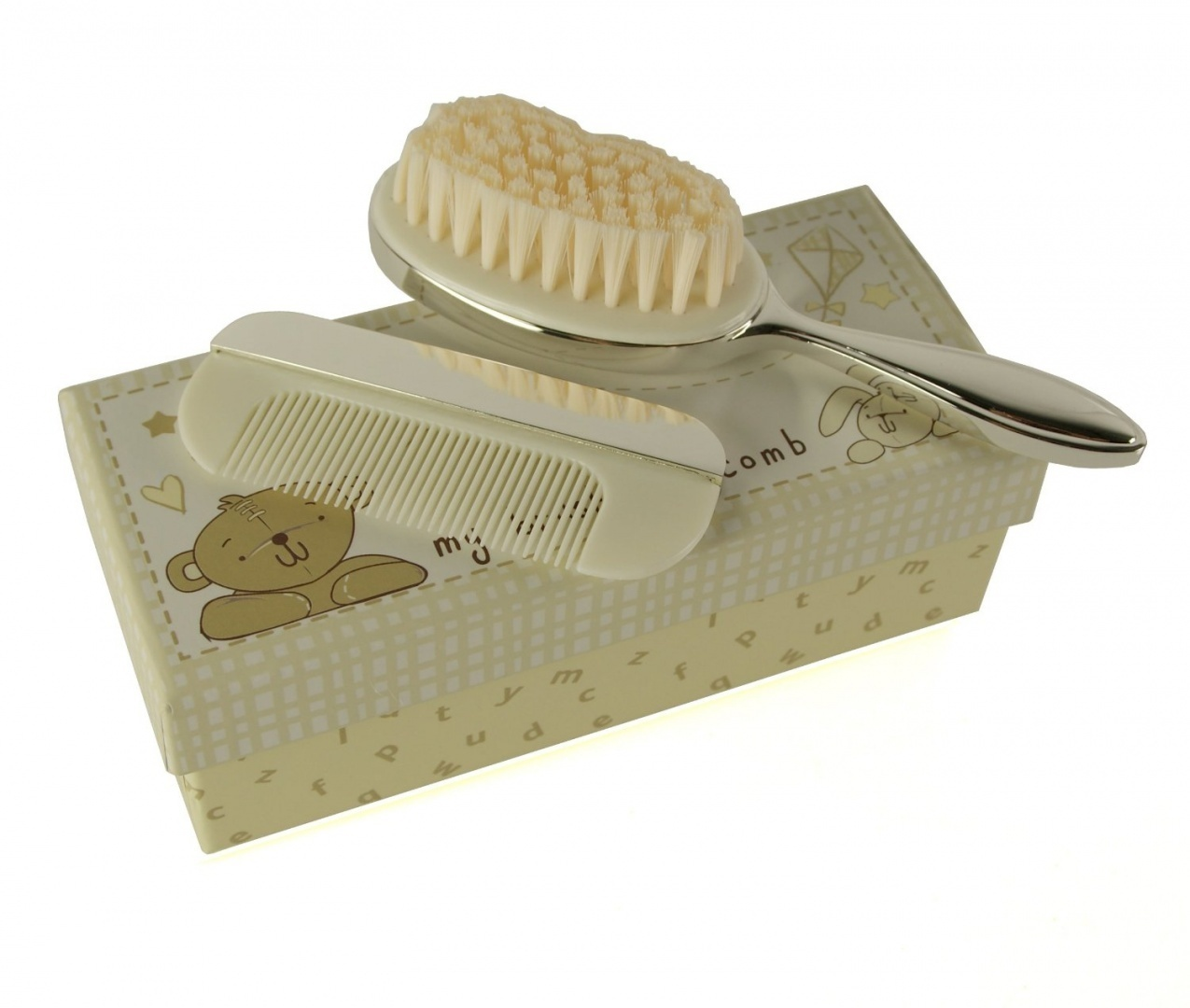 Button Corner Brush /& Comb Christening or Baby Gift Set Silver Plated