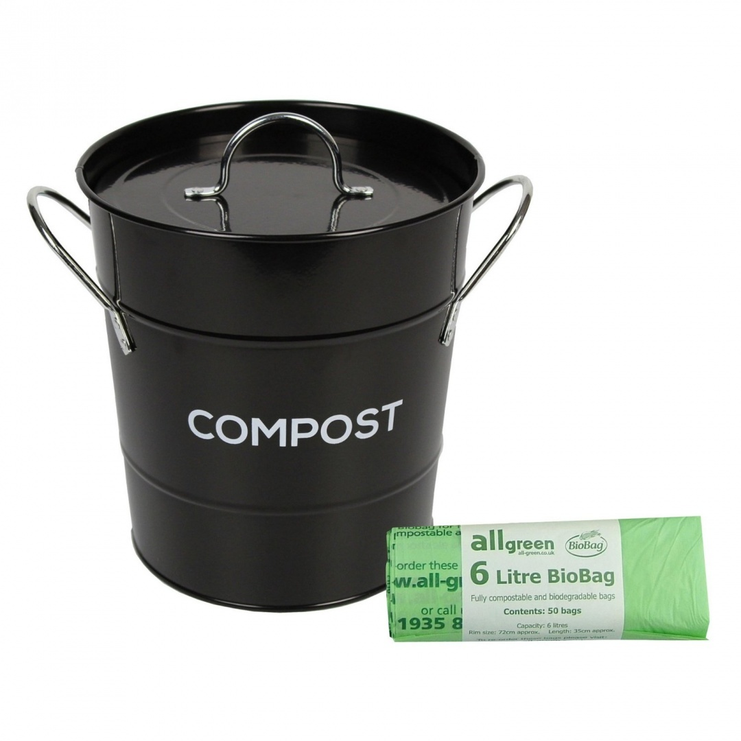 Black Metal Kitchen Compost Caddy 50x 6l All Green Biobags Composting Bin For Food Waste Recycling By The Caddy Company Shop Online For Kitchen In Australia