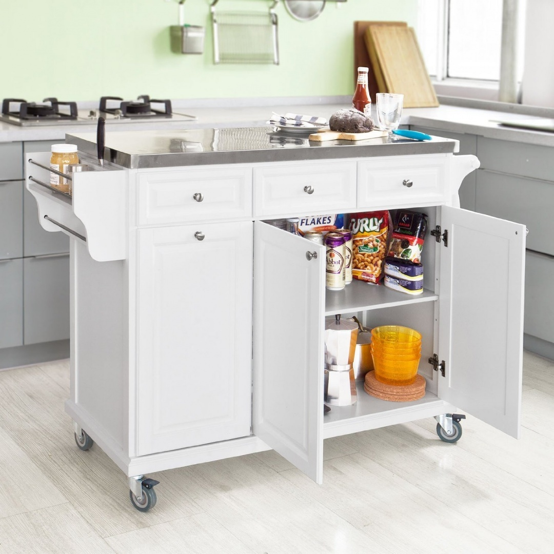 Picture of: Sobuy White Luxury Kitchen Island Storage Trolley Cart Kitchen Cabinet With Stainless Steel Worktop Fkw33 W By Sobuy Shop Online For Kitchen In Australia