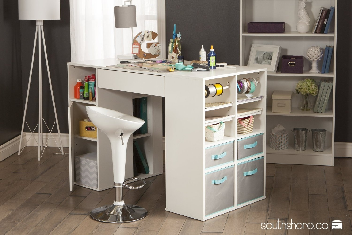 South Shore South Shore Crea Counter Height Craft Table With Storage Pure White By South Shore Shop Online For Arts Crafts In Australia