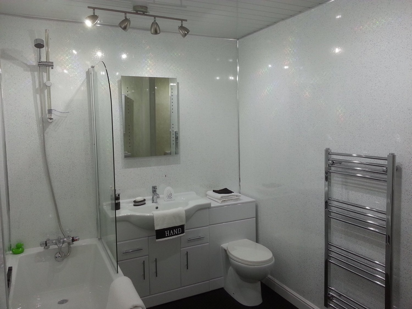 5 White Sparkle Diamond Effect Pvc Bathroom Cladding Shower Wall Panels By Bcs Panels Shop Online For Homeware In Australia