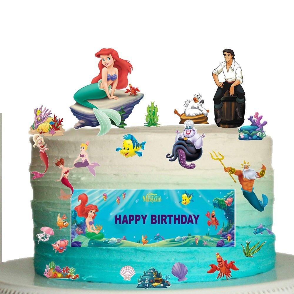 Incredible The Little Mermaid Happy Birthday Stand Up Scene Premium Edible Funny Birthday Cards Online Elaedamsfinfo