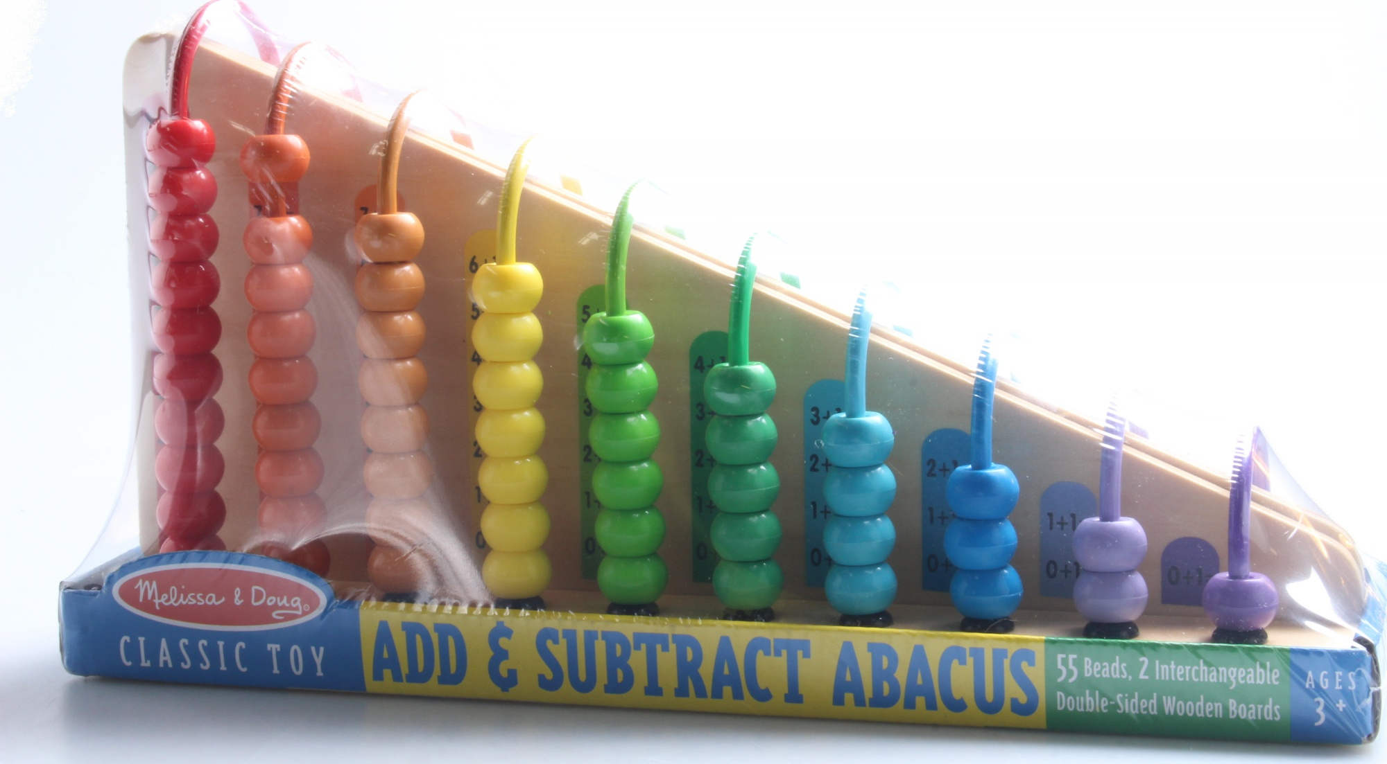 Melissa /& Doug Add /& Subtract Abacus Educational Toy With 55 Coloful Beads and Sturdy Wooden Construction