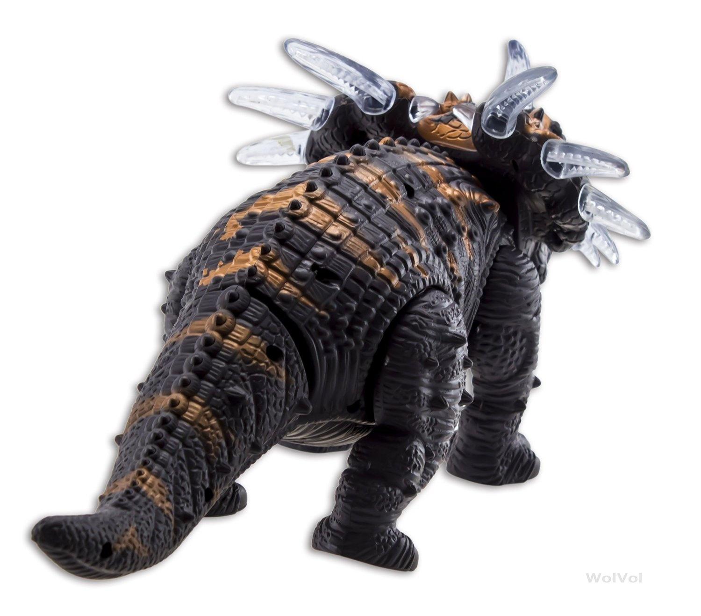 WolVol Walking Triceratops Dinosaur Toy Figure with Lights /& Loud Roar Sounds