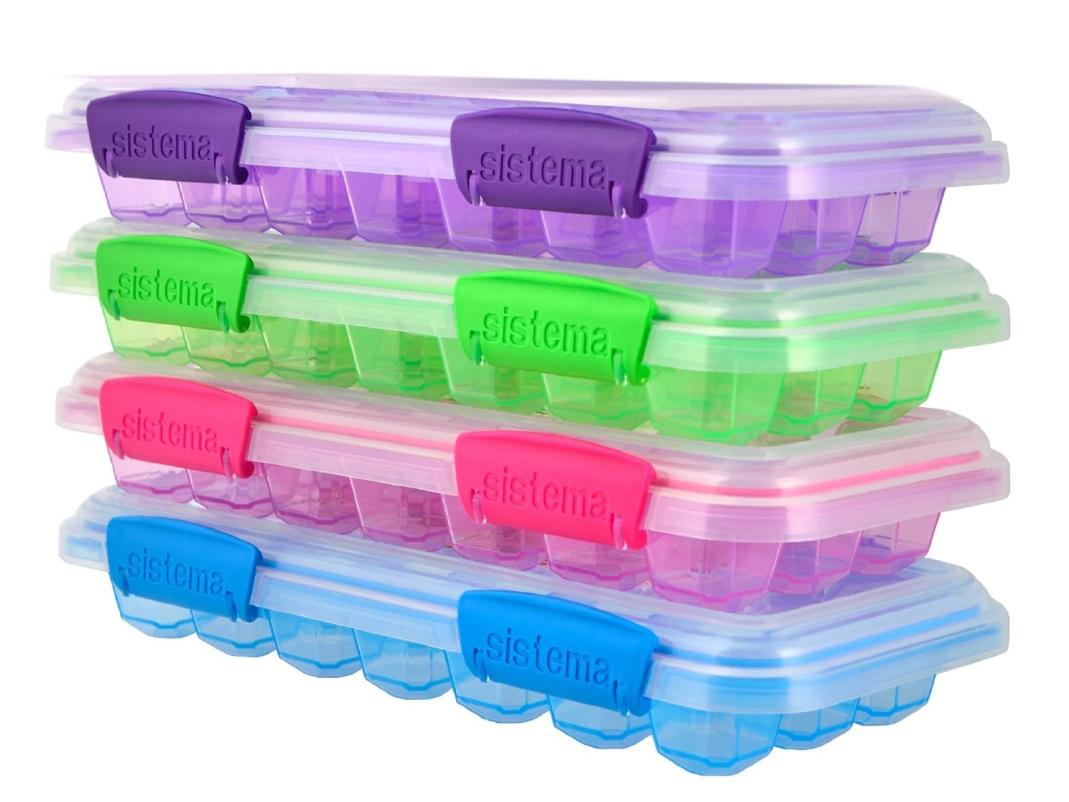 Sistema KLIP IT Accents Ice Cube Tray with Lid Assorted Colours 12 Cubes