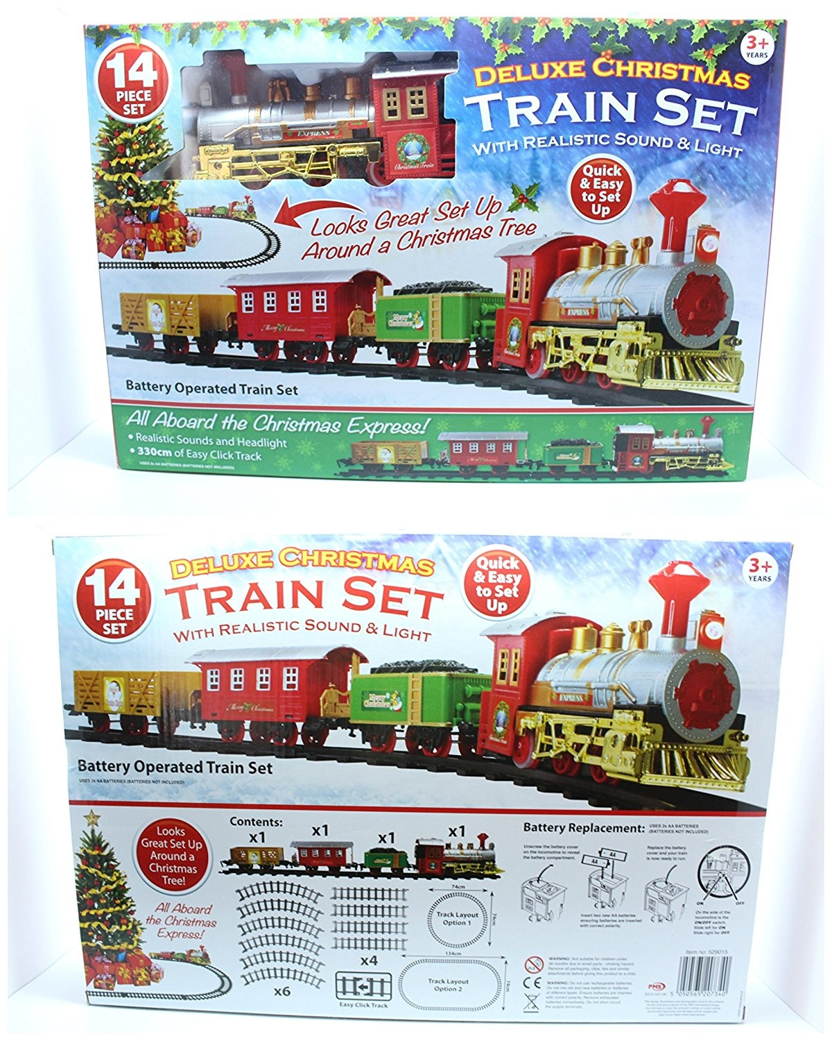 Christmas Express Train Set Battery Operated with Realistic ...