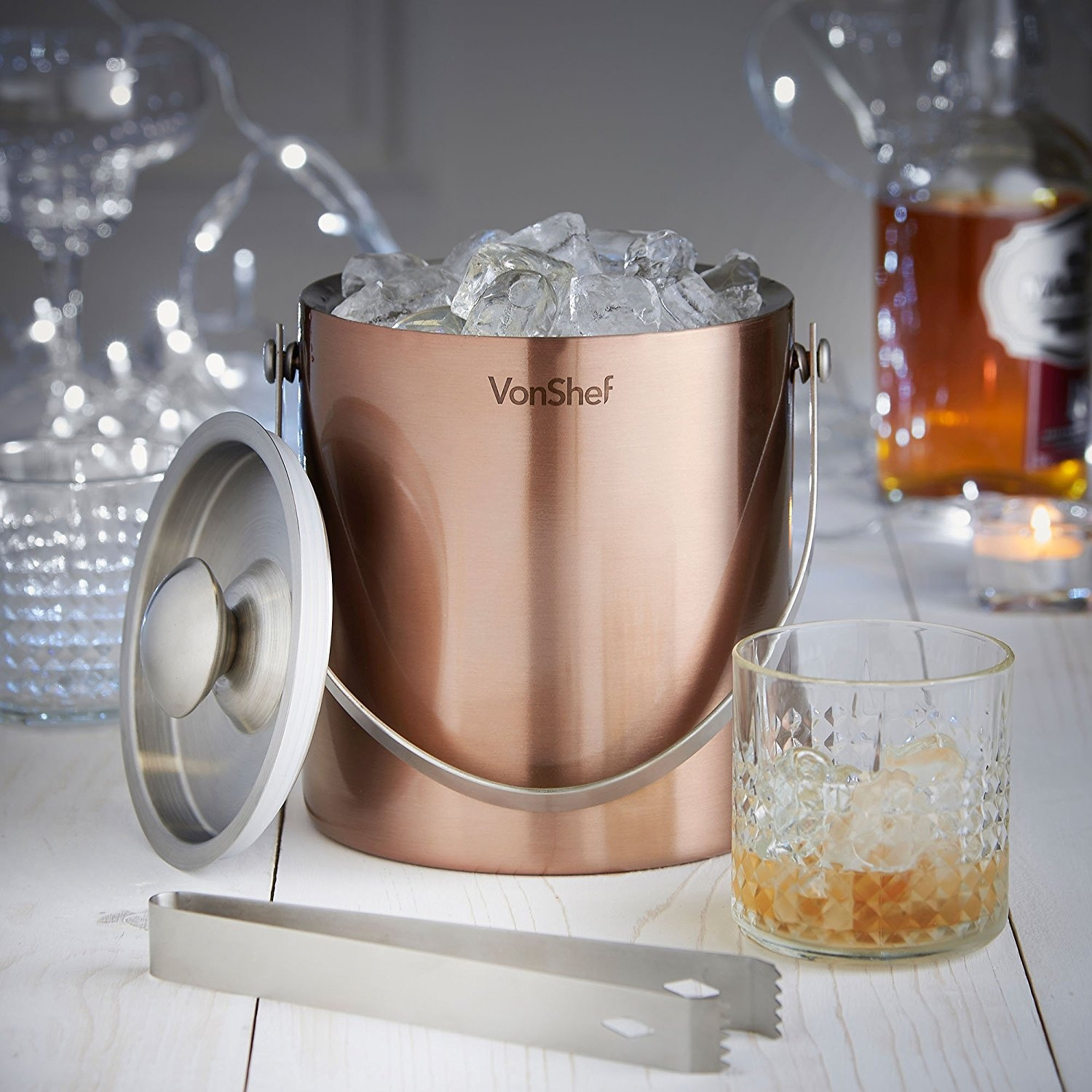 VonShef Ice Bucket with Lid 2 Litre Double Walled Insulated Stainless Steel /&