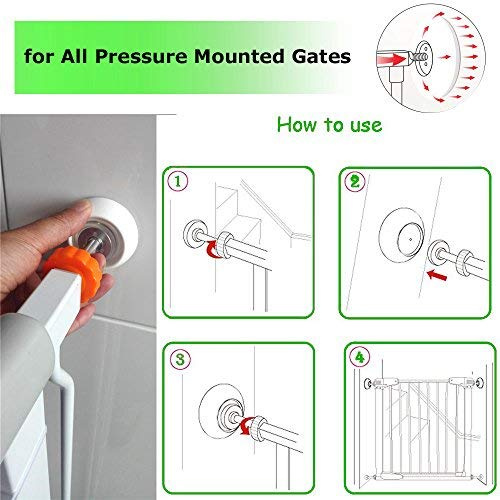 4 Pack Baby Gates Wall Cups Safety Wall Bumpers Guard Fit for Bottom of Gates Stairs Doorway Baseboard Work with Dog Pet Child Kid Pressure Mounted Gates
