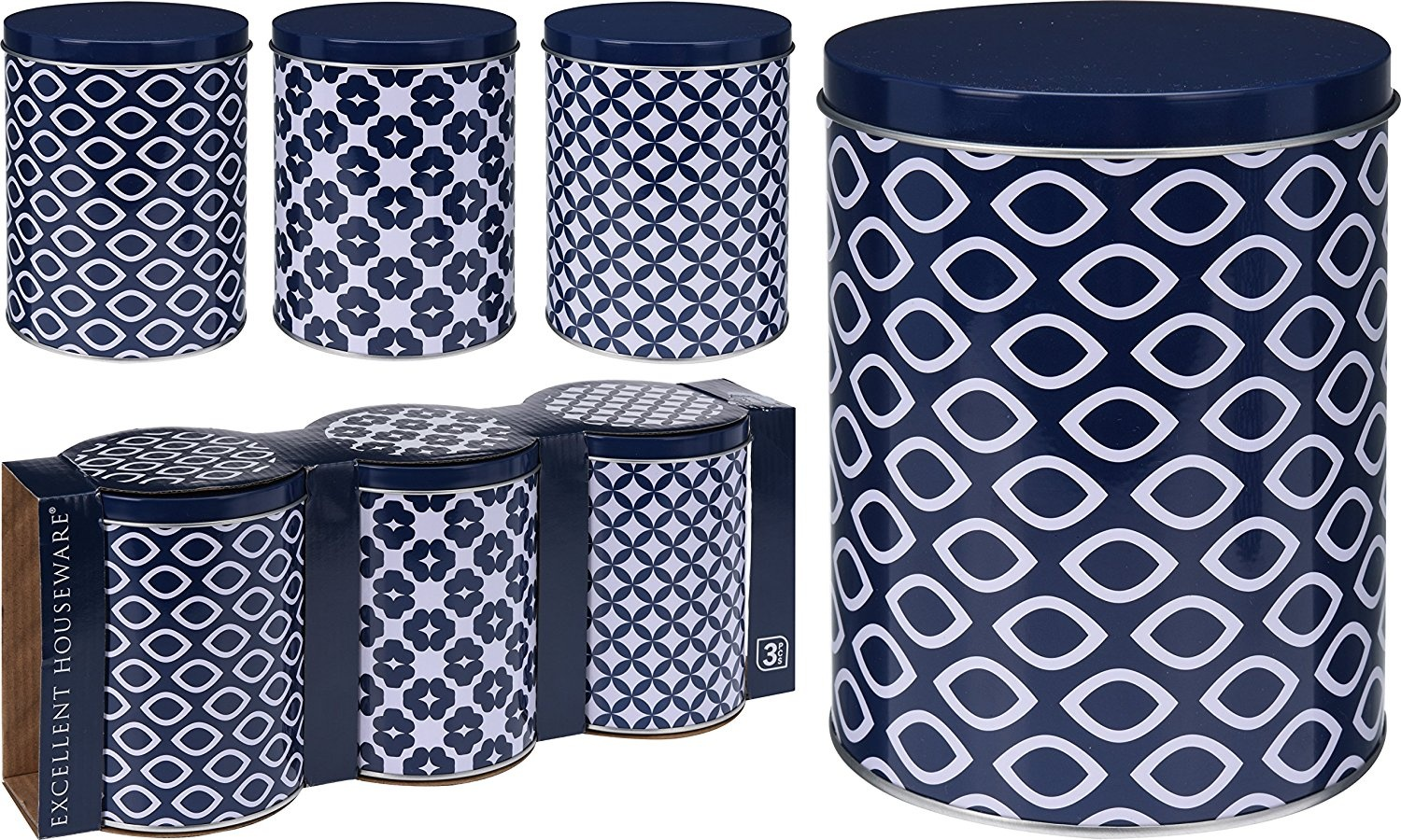 Nautical Design Set Of 3 Tea Coffee Sugar Navy Blue White Food Storage Canister By E H Shop Online For Kitchen In Australia