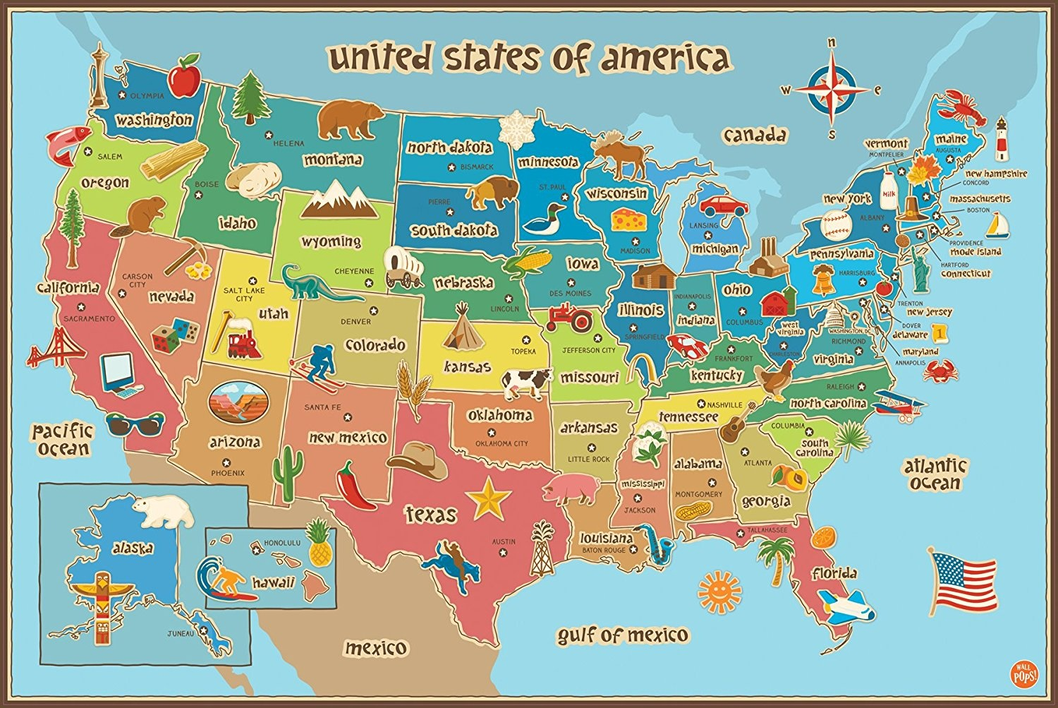 Picture of: Wall Pops Fun Geographical Children S Learning Map Of The United States Usa By Wall Pops Shop Online For Baby In Australia