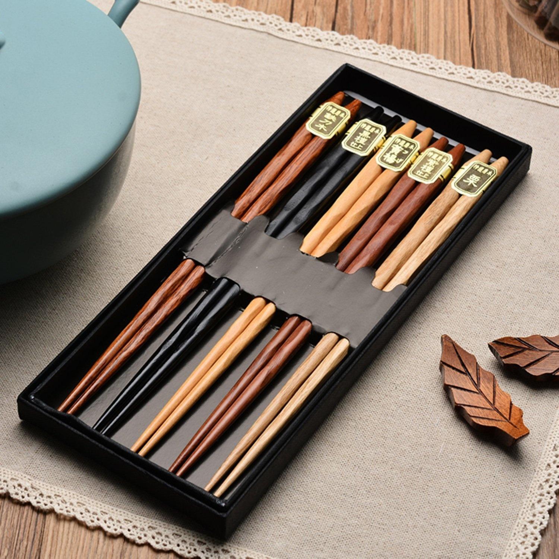 Youmi Japanese Natural Wood Chopstick Set Reusable Classic Style Chopsticks 5 Pairs Gift Set