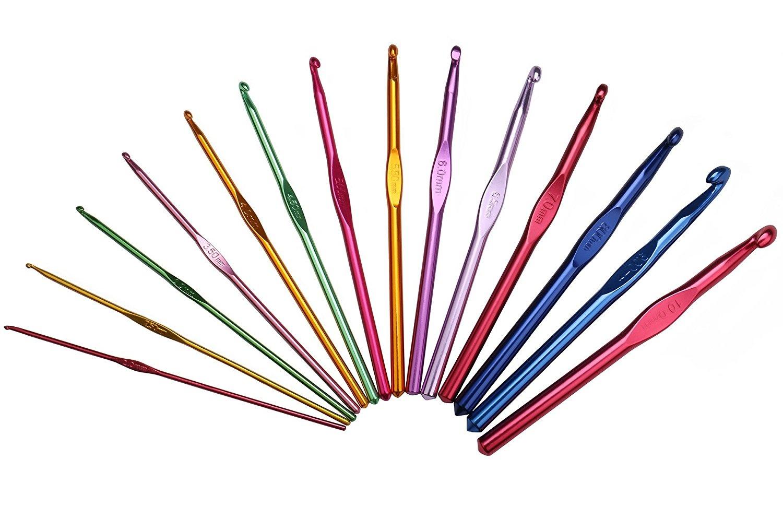 Luxbon-Pack Of 14 Sizes Multi coloured Aluminum Crochet Hooks Set Knitting In a