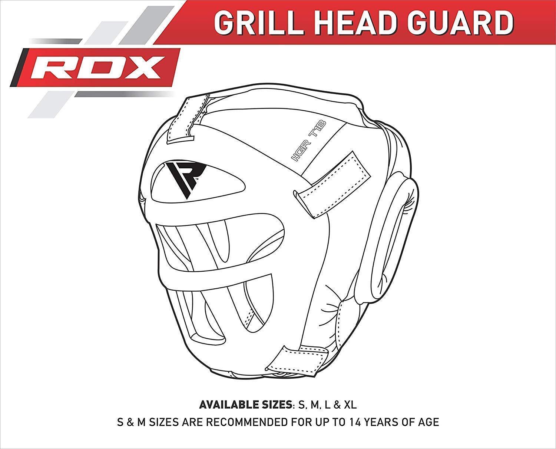RDX Leather Headgear Face Guard Protector Boxing Helmet MMA Black Head Guard US