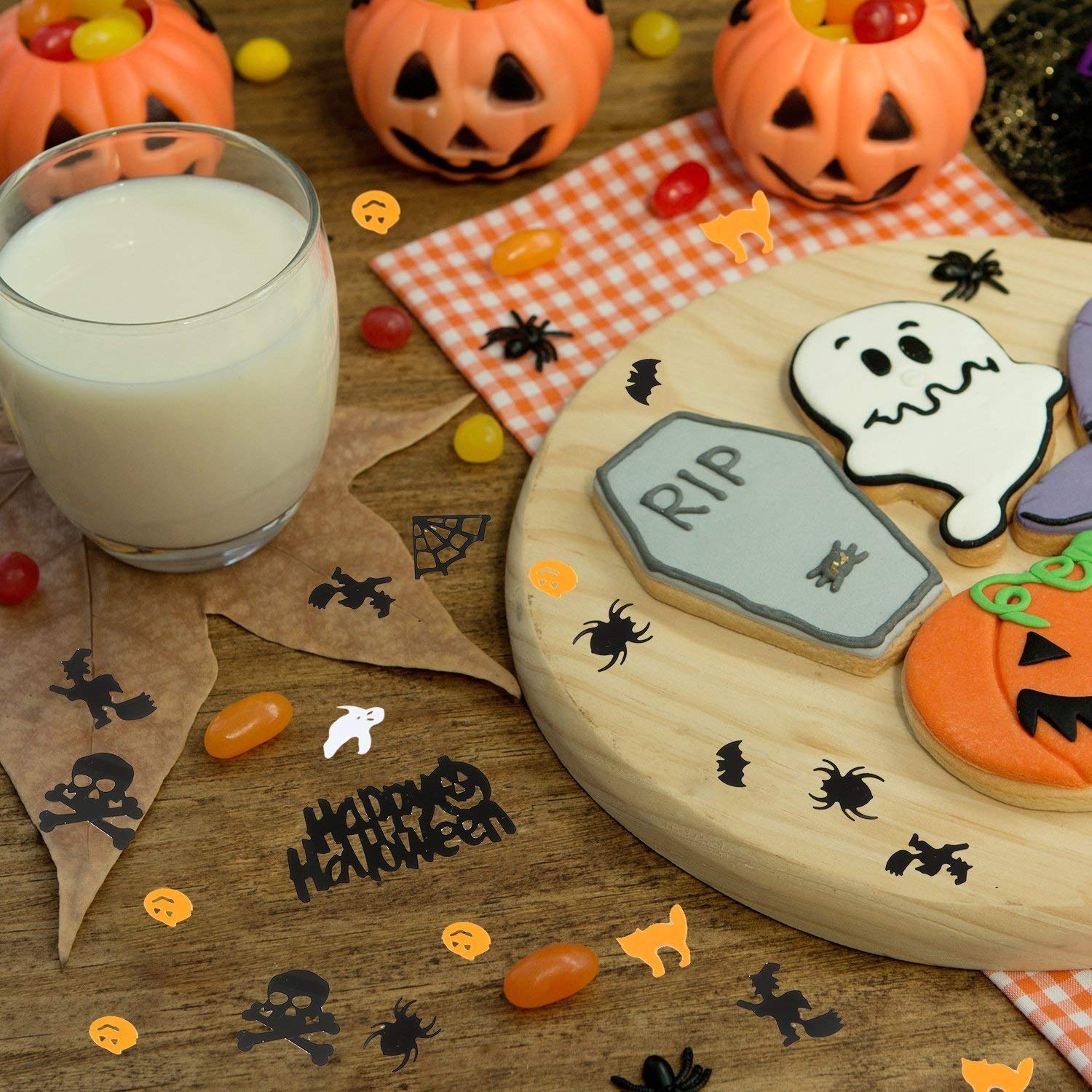 Aneco 160g Happy Halloween Confetti Spider Witch Pumpkin Cat Ghost Bat Skeleton Sprinkles Table Confett Halloween Night Party Decoration