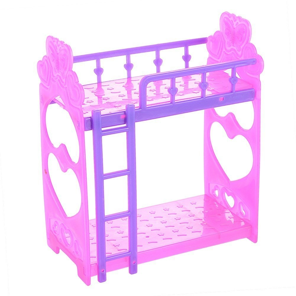 Qiyun Double Bed Toy 2pcs Bedroom Accessories Double Deck Bed Bunk Bed Cute 14cm Plastic Double Bed Toy For Barbie Doll Random Colour