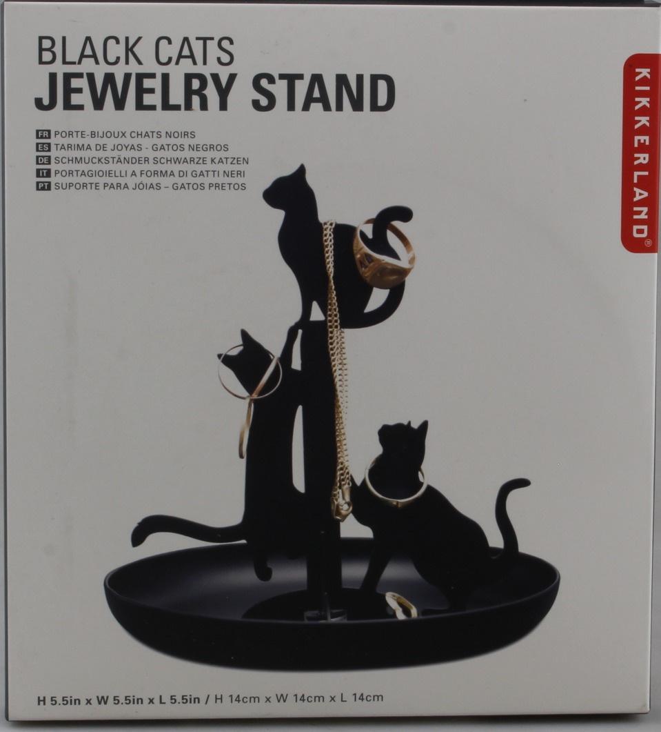 Kikkerland Black Cats Jewellery Stand Holder Organiser Dish 14cm Tall for sale online