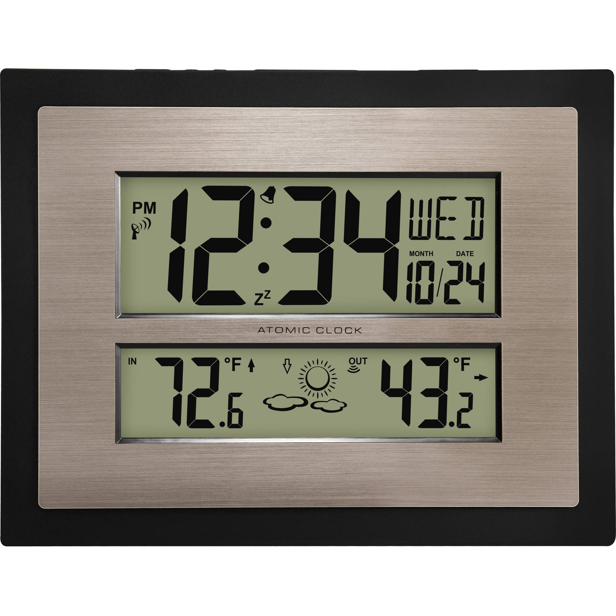 Atomic Digital Wall Clock with Forecast In Black