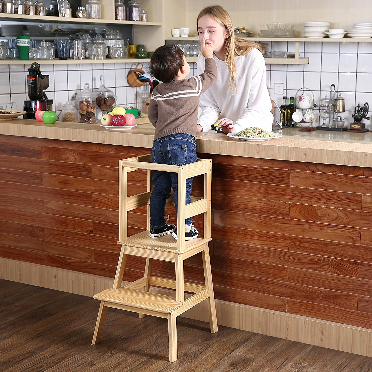Fabulous Sdadi Learning Tower Kids Kitchen Helper Kitchen Step Stool With Safety Rail For Toddlers 18 Months And Older Solid Wood Natural Gmtry Best Dining Table And Chair Ideas Images Gmtryco
