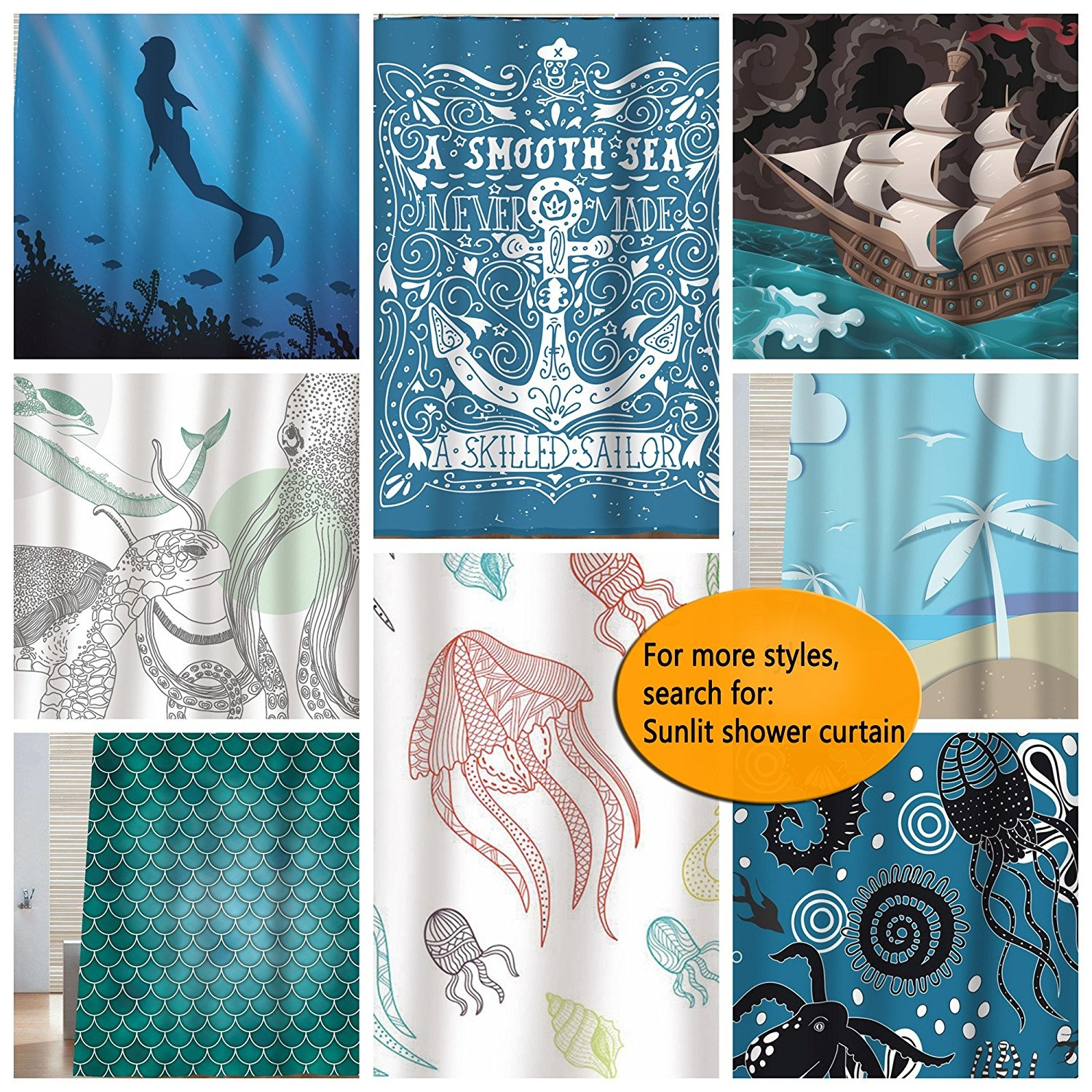 Sunlit Designer Ocean Animals White Fabric Shower Curtain With Sea Turtle Whale Octopus Tentacles Marine Life Scenery Abstract Sketch Art Blue Grey