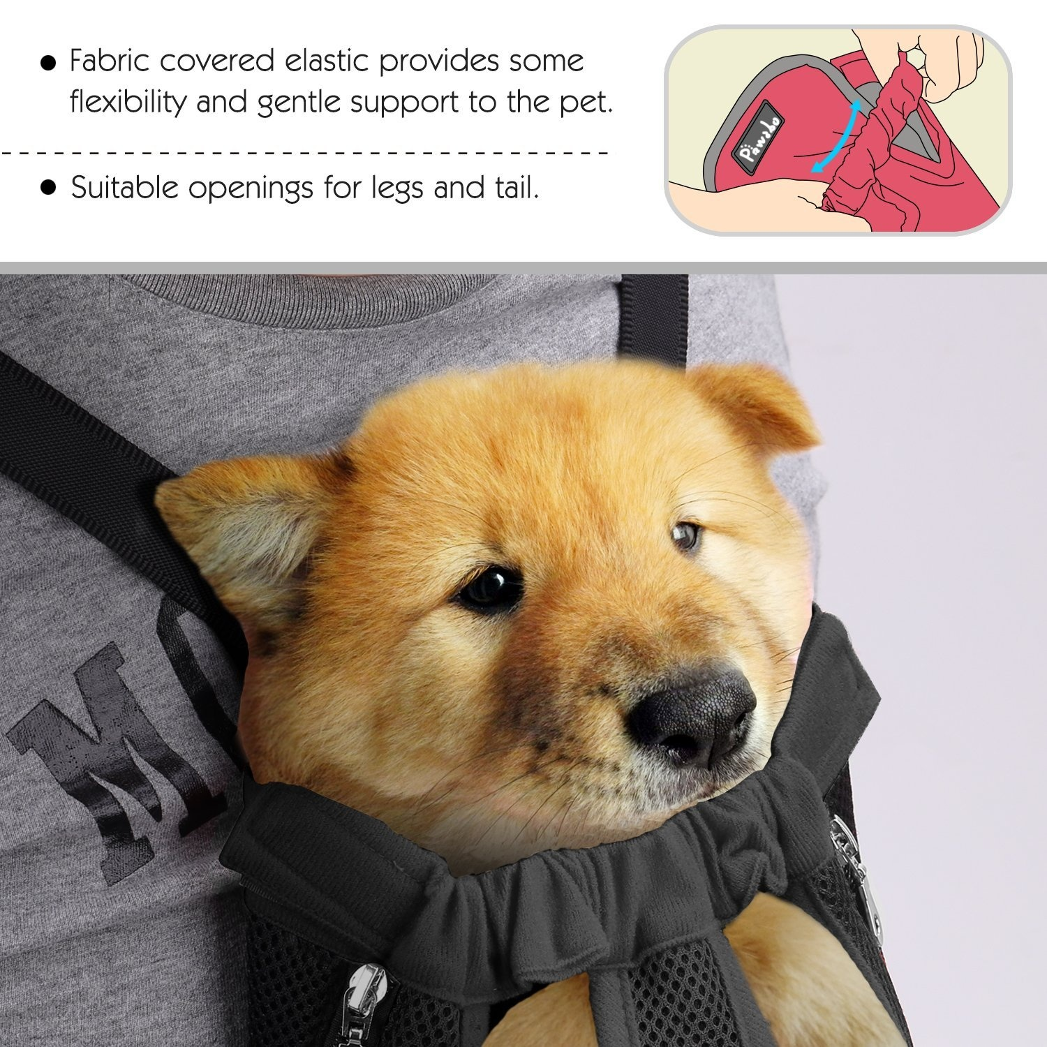 Pawaboo Pet Carrier Backpack Adjustable Pet Front Cat Dog Carrier Backpack Travel Bag Easy-Fit for Traveling Hiking Camping for Small Medium Dogs ORANGE Legs Out Large Size