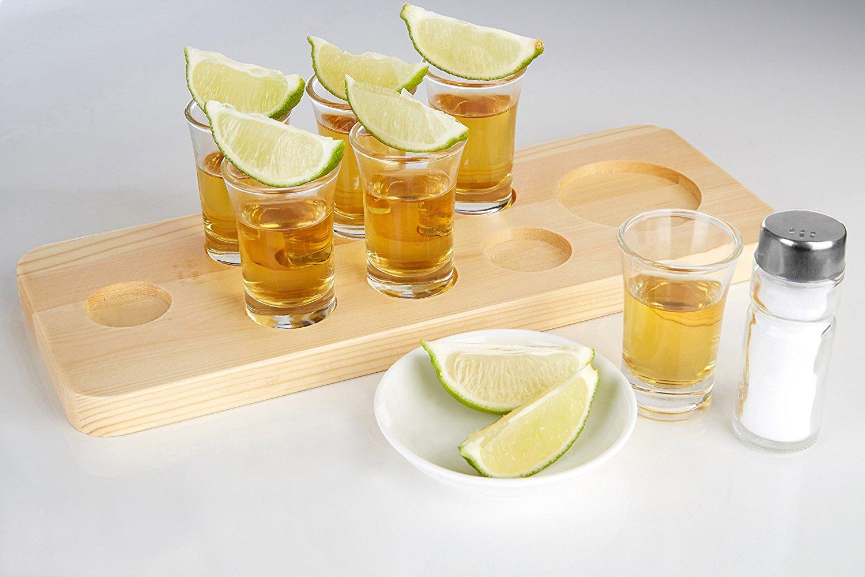 Six Shot Glasses Wood Brown Wooden Tray Premier Housewares Tequila Set 12 x 32 x 9 cm