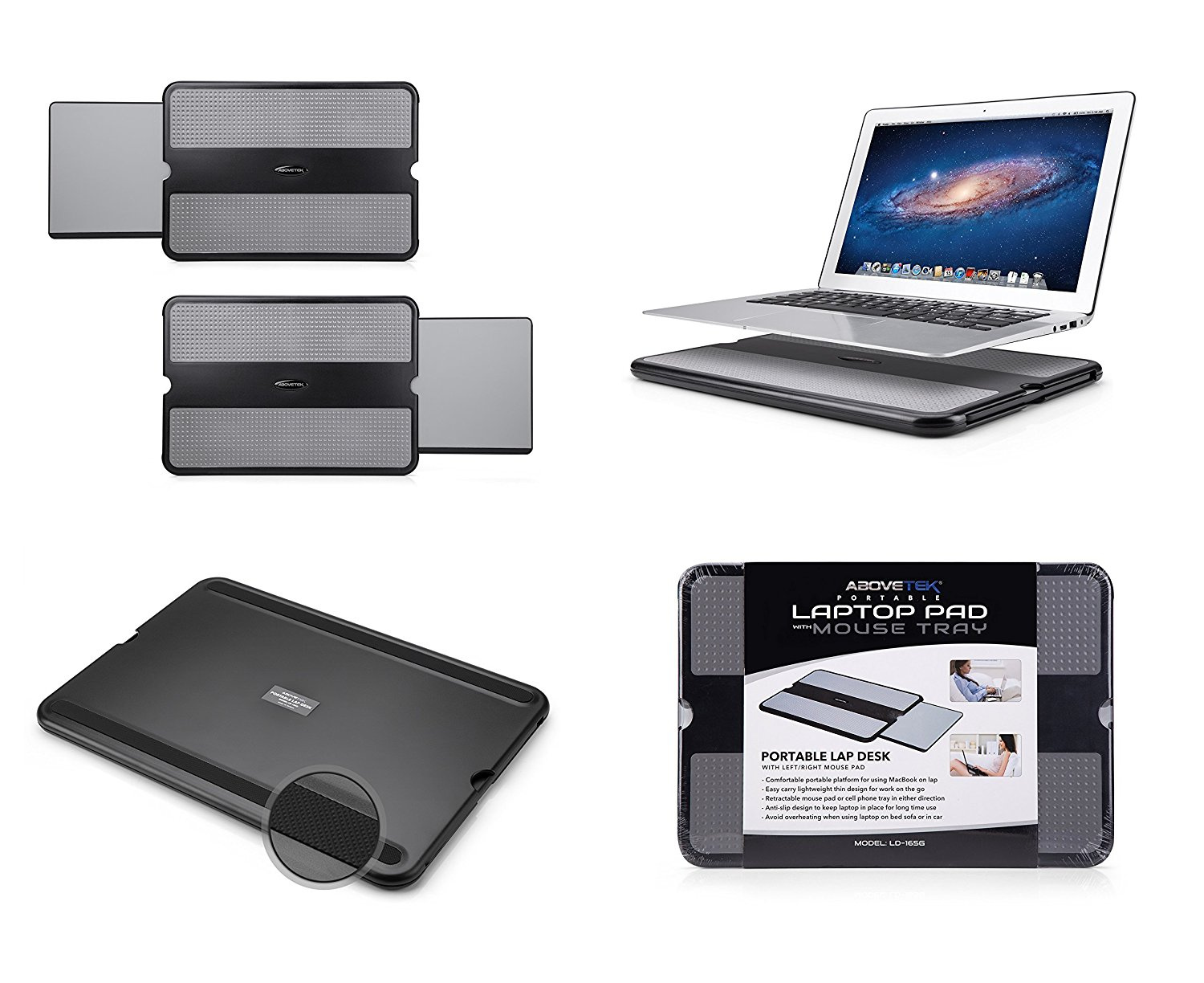AboveTEK Portable Laptop Lap Desk w//Retractable Left//Right Mouse Pad Tray Non-Slip Heat Shield Tablet Notebook Computer Stand Table w//Sturdy Stable Cooler Work Surface for Bed Sofa Couch or Travel