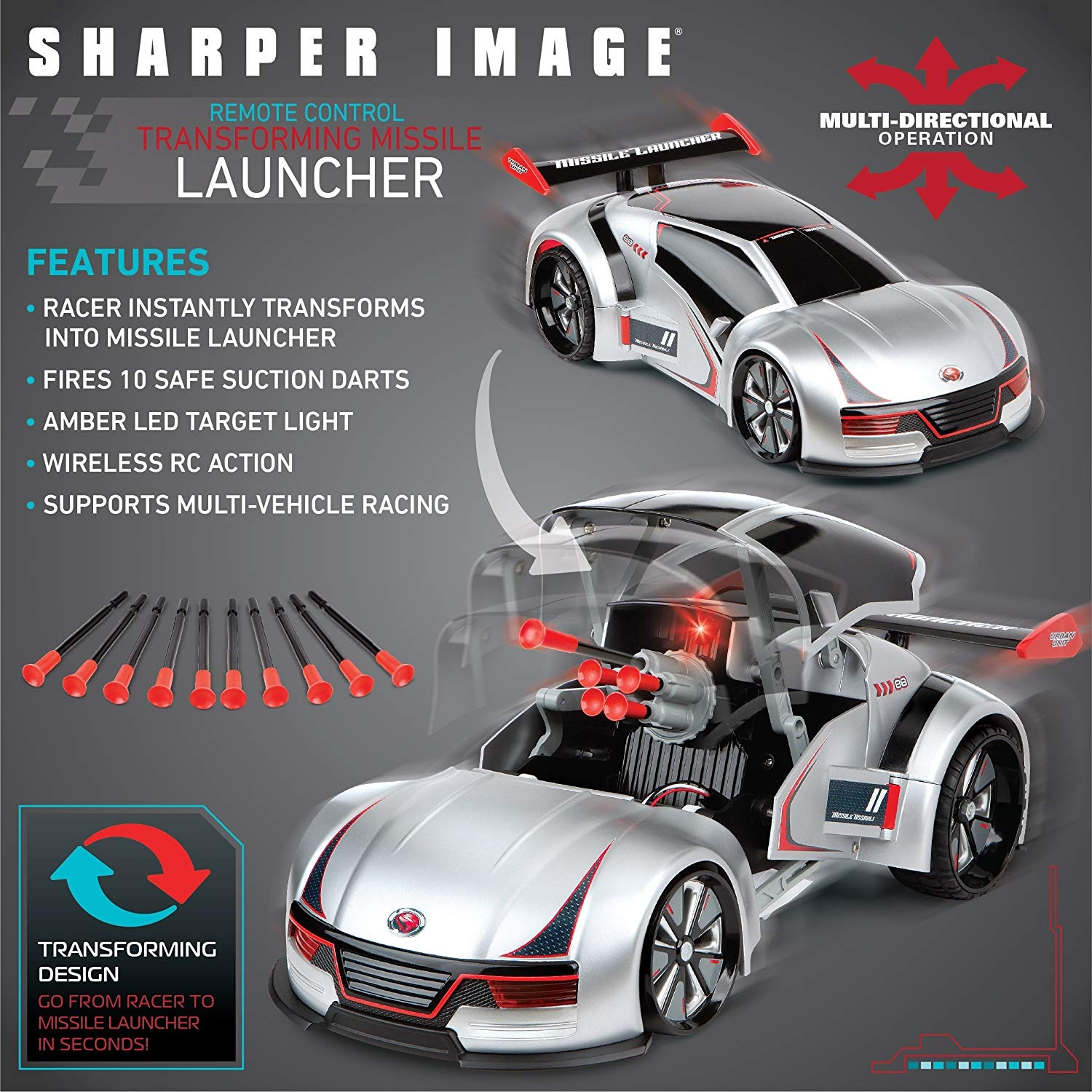 Sharper Image Transforming Rc Missile Launcher Race Car Battle Toy With Led Target Light Spoiler Includes Ten Safe Suction Cup Firing Darts Remote Control W Transformer Button By Sharper Image Shop Online
