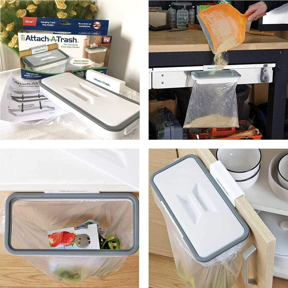 Kobwa Hanging Cabinet Trash Plastic Bag Holder Bin For Kitchen Cupboard Storage Organizer Hanging Waste Basket
