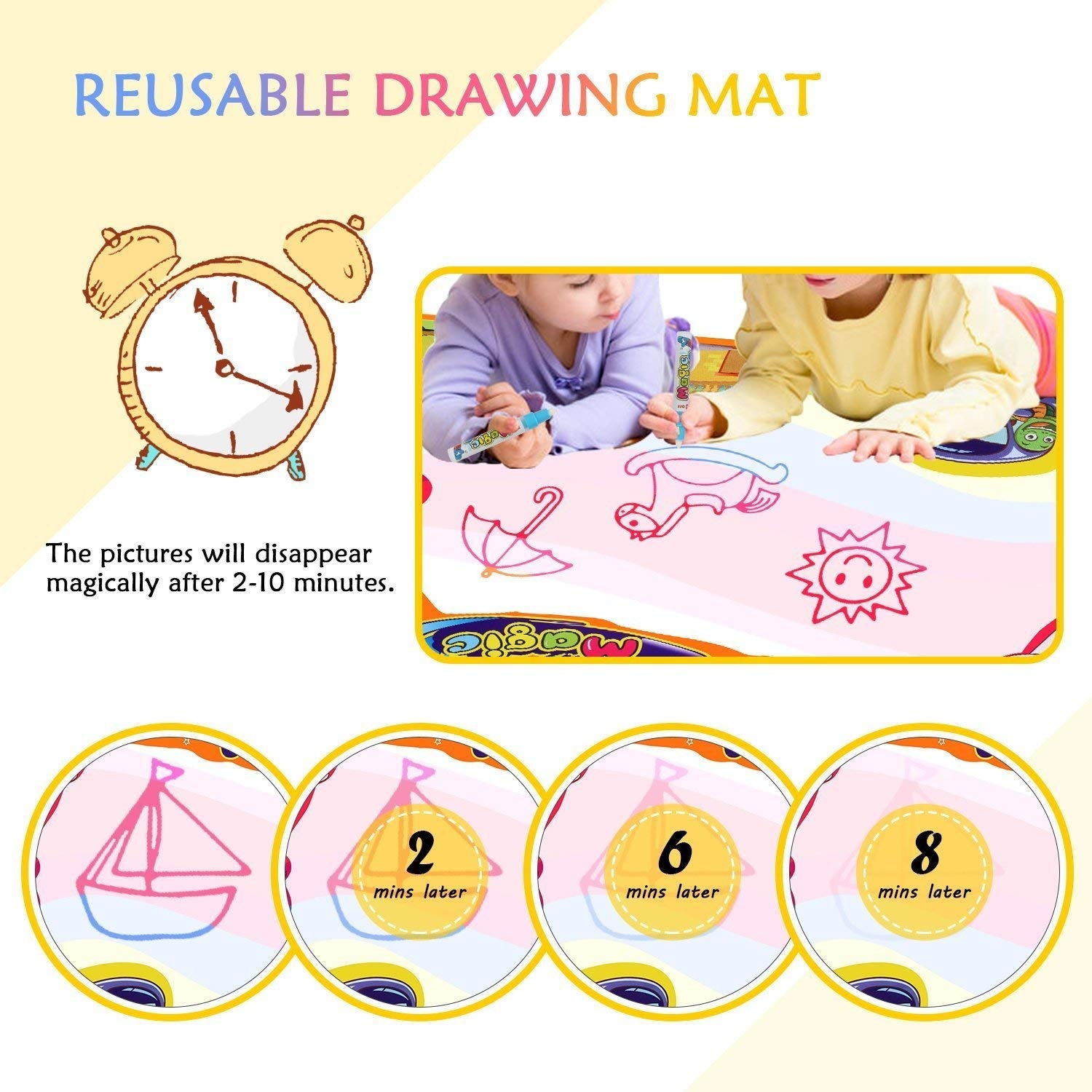 TimedMALL Aqua Doodle Mat Kids Toy Water Magic Mat and 2 Magic Pens Set Children Large Water Drawing Pad for Boys Girls Doodle Learning Toy Best Educational