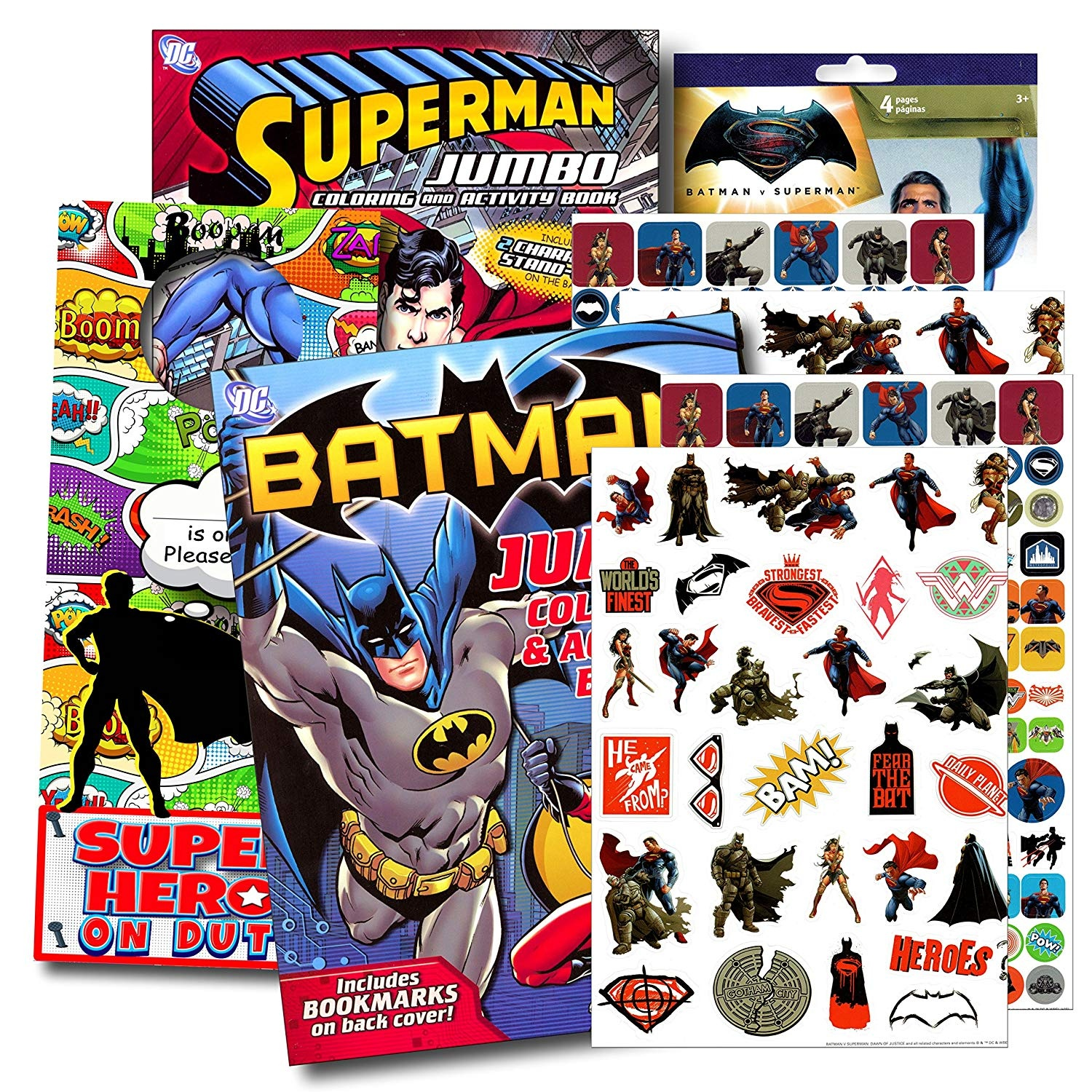 Bendon Publishing DC Comics Batman & Superman Colouring And Activity Book  Set - Two 96 -page Colouring Books, Stickers and Superhero Door Hanger