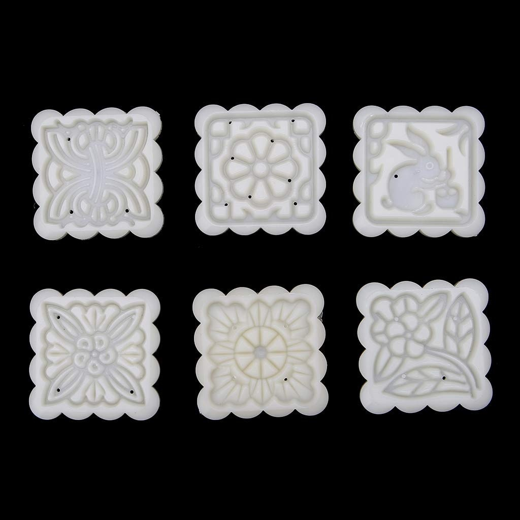 HotelLee Mooncake Mold With 6 Stamps Maamoul Mold Cookie Mold DIY 50g
