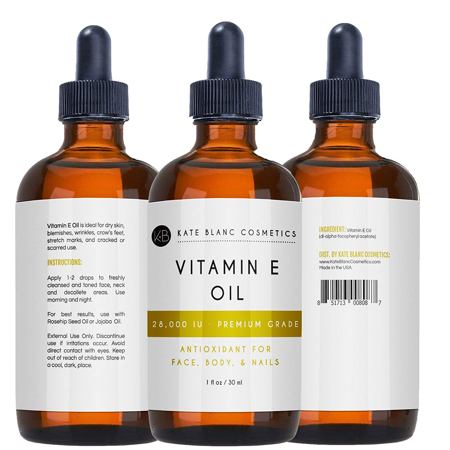 Vitamin E Oil By Kate Blanc Moisturises Face And Skin 100 Pure Extra Strength 28 000 Iu Premium Grade Antioxidants Reduce Appearance Of Scars Wrinkles Dark Spots W Recipes 30ml By Kate