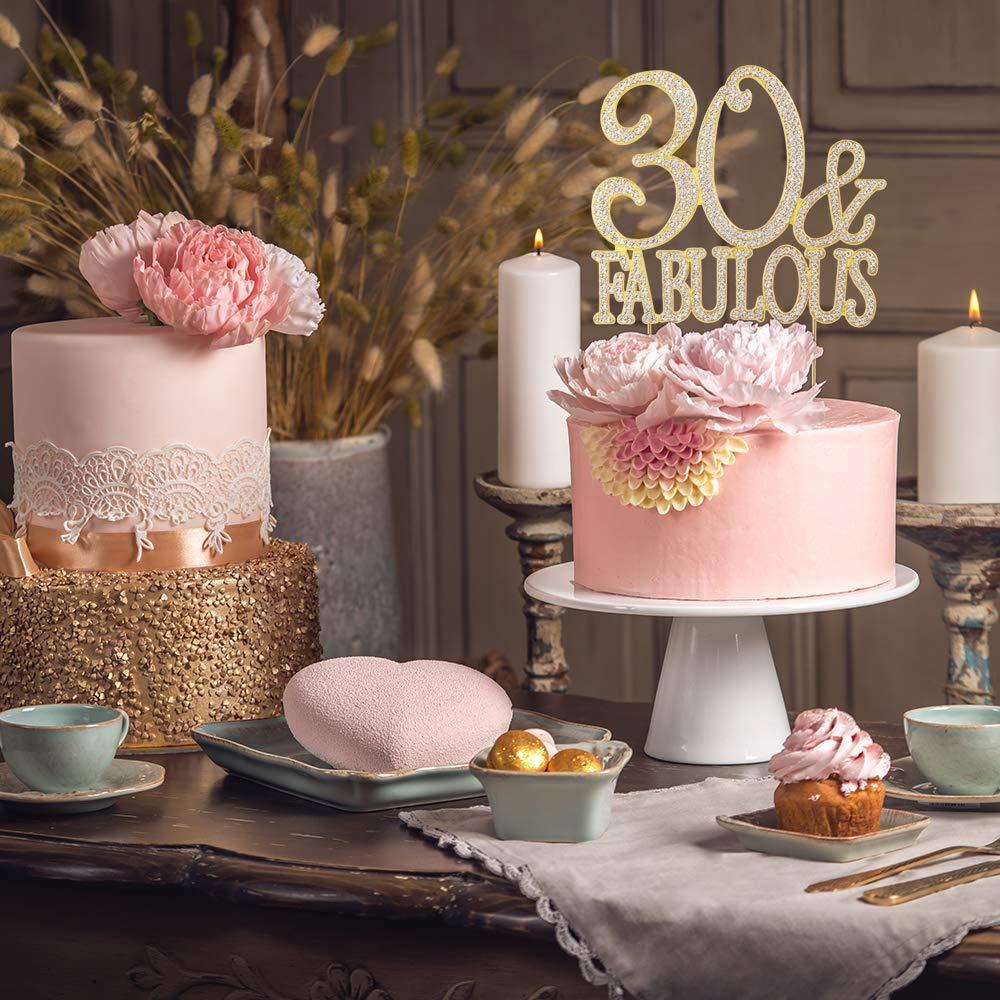 Swell 30 And Fabulous Rhinestone Cake Topper Gold Thirty Birthday Cake Funny Birthday Cards Online Necthendildamsfinfo