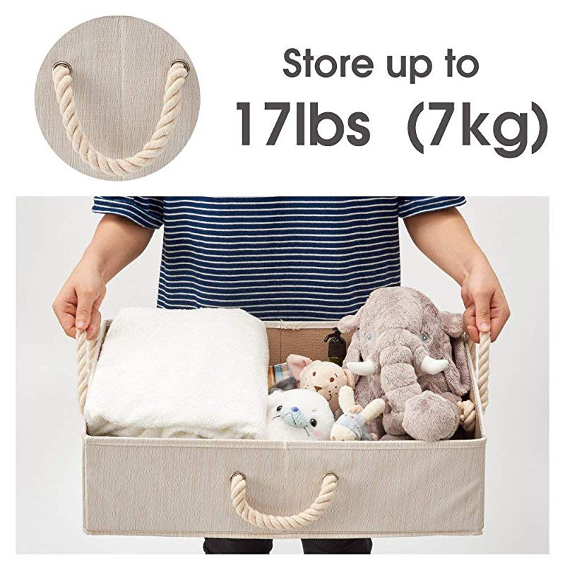 Bamboo Gray Baby toys and More EZOWare Set of 3 Large Storage Basket Foldable Fabric Trapezoid Storage Organiser boxes with Cotton Rope Handle Closet Collapsible Basket for Shelves diaper