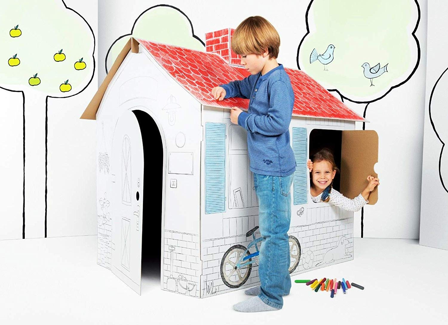 Kids Cardboard Playhouse Colouring Your Own House Toy For Children XL Size Play House Made From Strong And Durable Cardboard