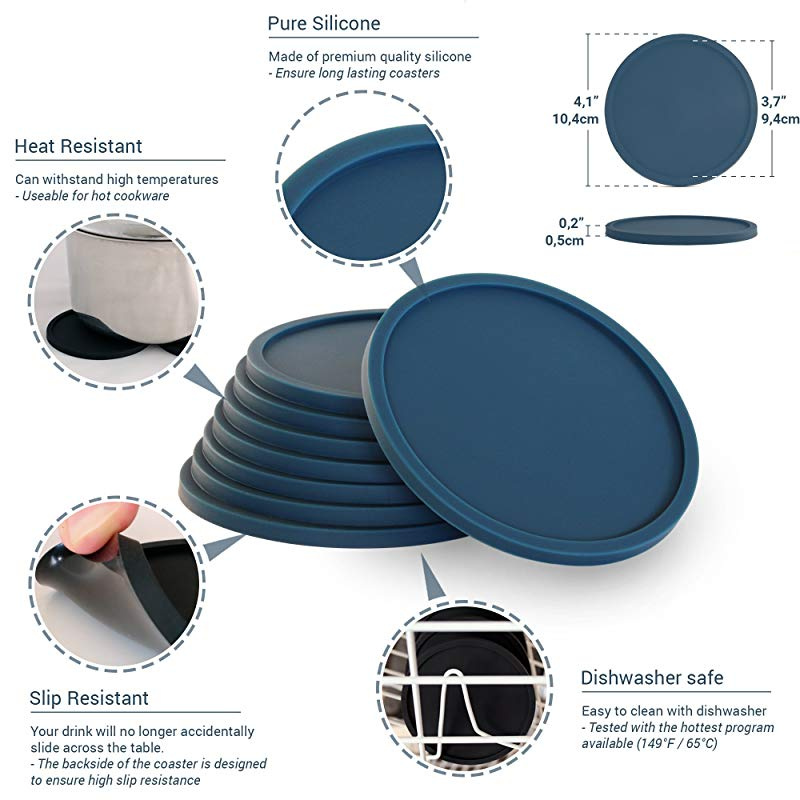 Perfect Any Tabletop Protection for Any Table Type Silicone Coasters Set of 8