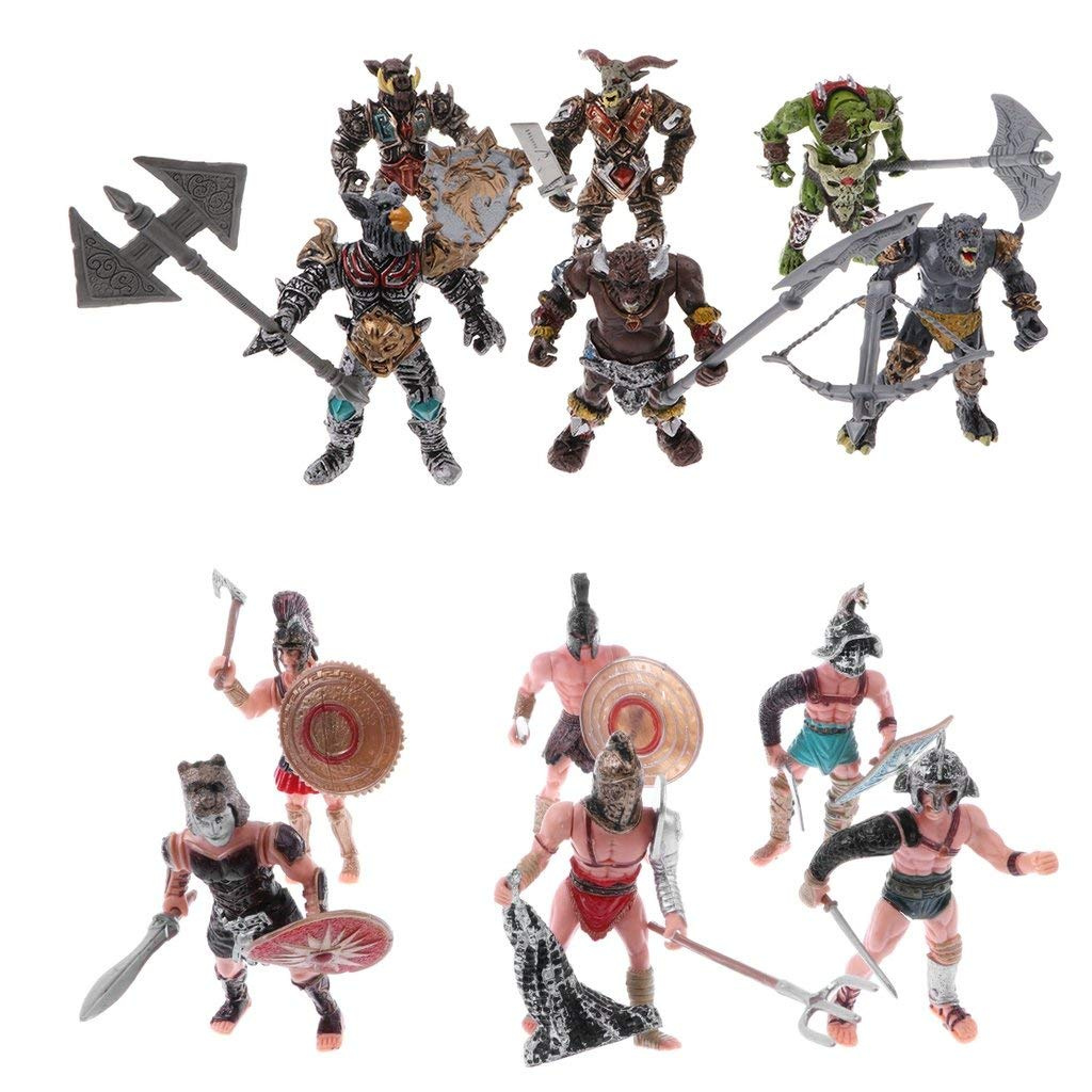 Ancient Roman Gladiator Medieval Warriors Figure Models Playset for Kids