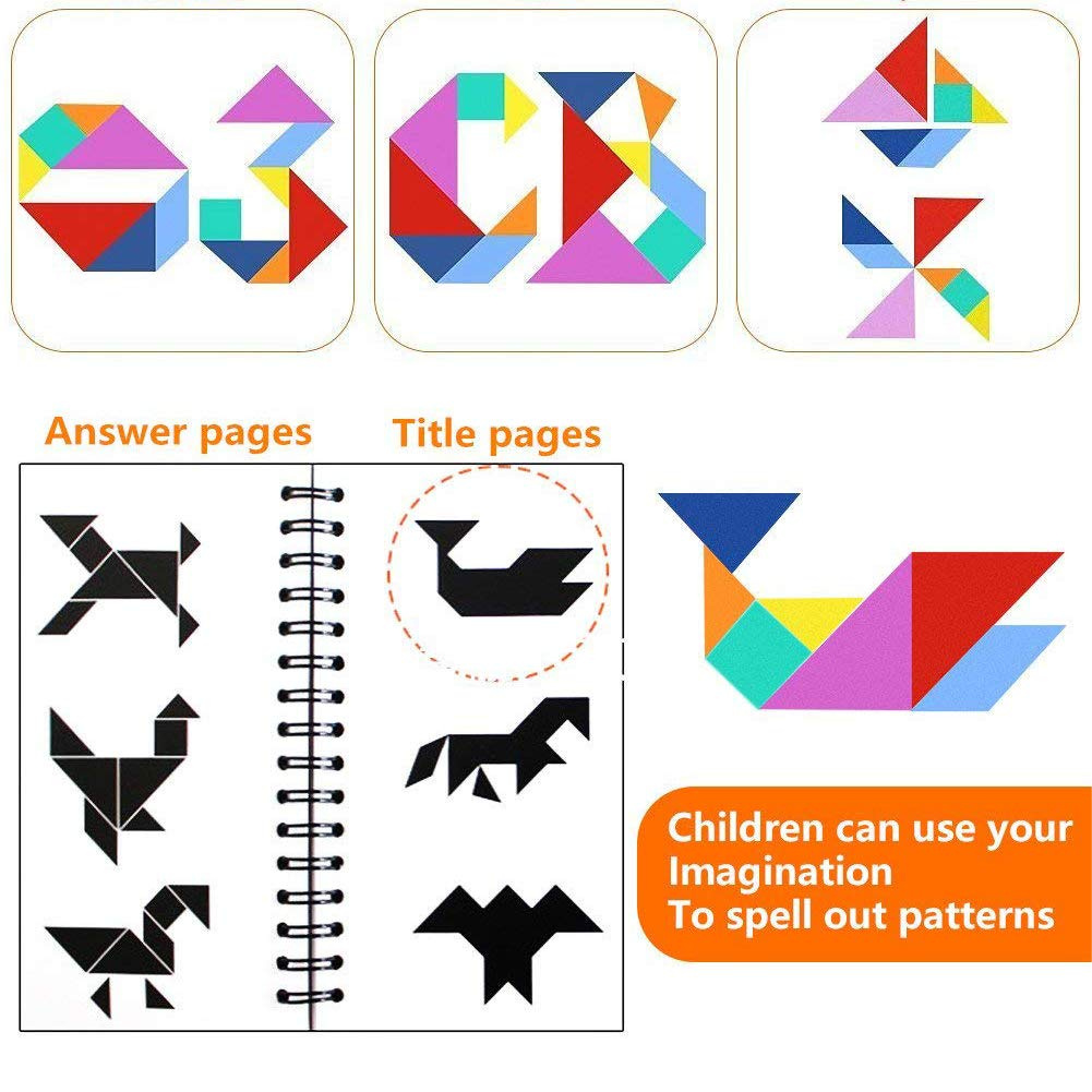 FUQUN Magnetic Travel Tangram Puzzles Book Games IQ Educational Toys for Kids Adults 360 Patterns People Objects with 7 Simple Magnetic Colorful Shapes 【2 Set of Tangrams】