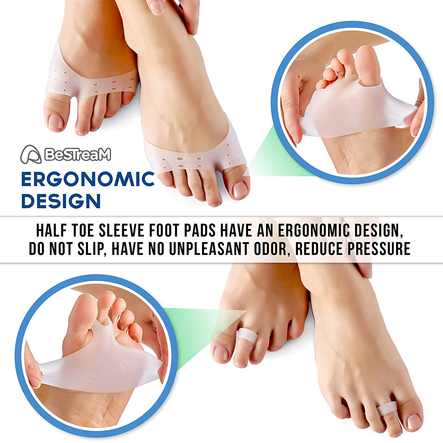 Gel Forefoot Metatarsal Ball Foot Pads Half Toe Cushion Support Relief LE