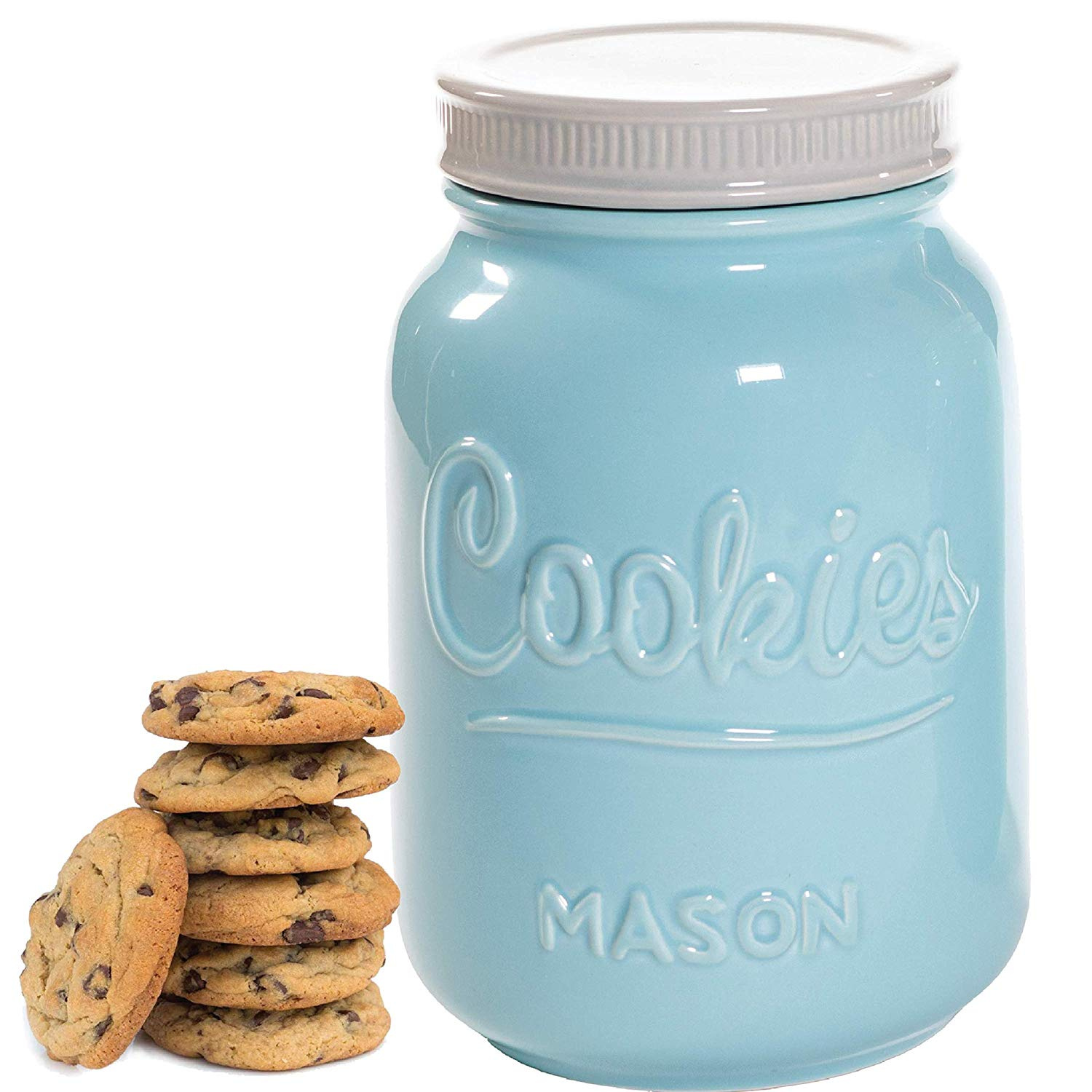 Blue and Other Snacks Vintage Farmhouse Storage Jars with Lids Rustic Decorative Air Tight Container For Cookies Large Airtight Ceramic Kitchen Canister Cracker Mason Cookie Jar With Lid