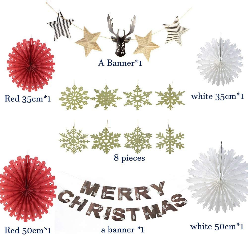 Snowflake Christmas Decorations Paper Deer Head Star Garland Red Green White Paper Fan Decor Kit Merry Christmas Banner