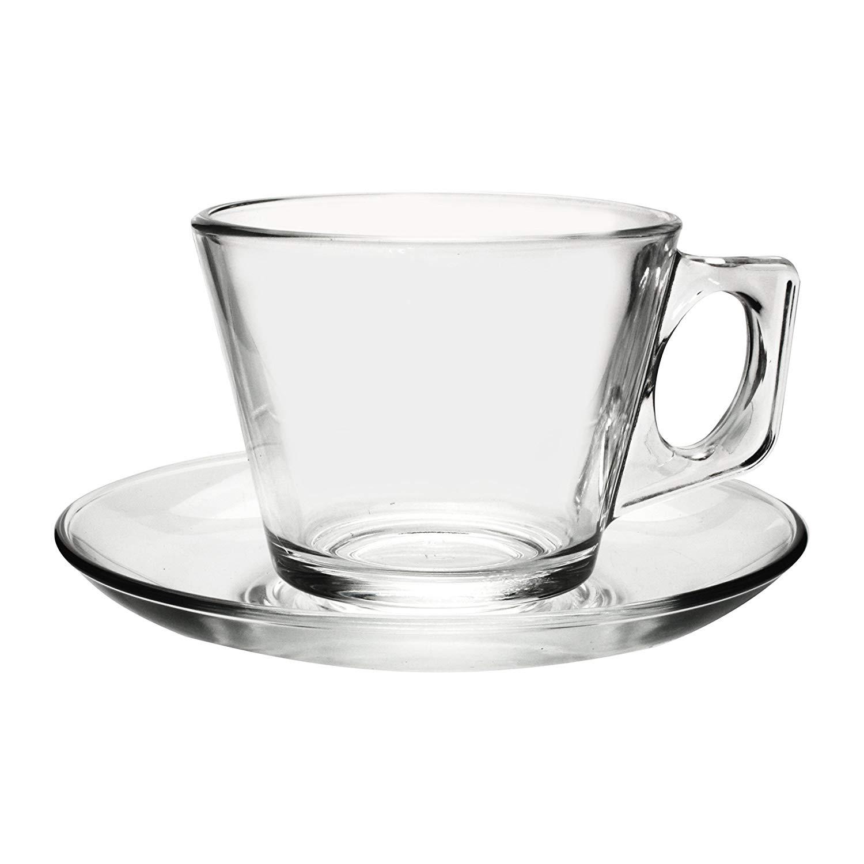 Transparent glass Pasabahce Casablanca Espresso Cups with Saucer 1611183 Set of 12