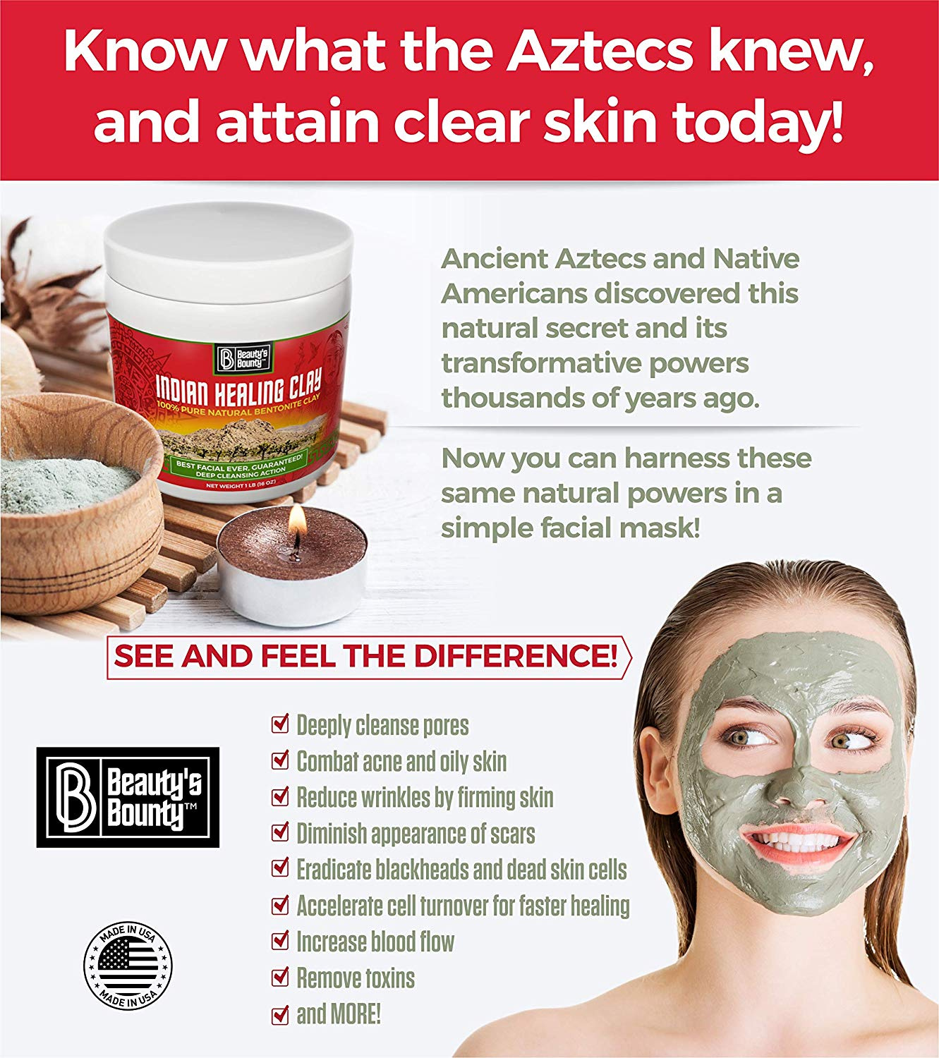 Beauty S Bounty Indian Healing Clay All Natural 100 Bentonite Clay Mask Detoxifying Clarifying Face Mask Reduces Acne Blackheads Wrinkles Pore Minimizer Exfoliating Face Mask Made In Usa