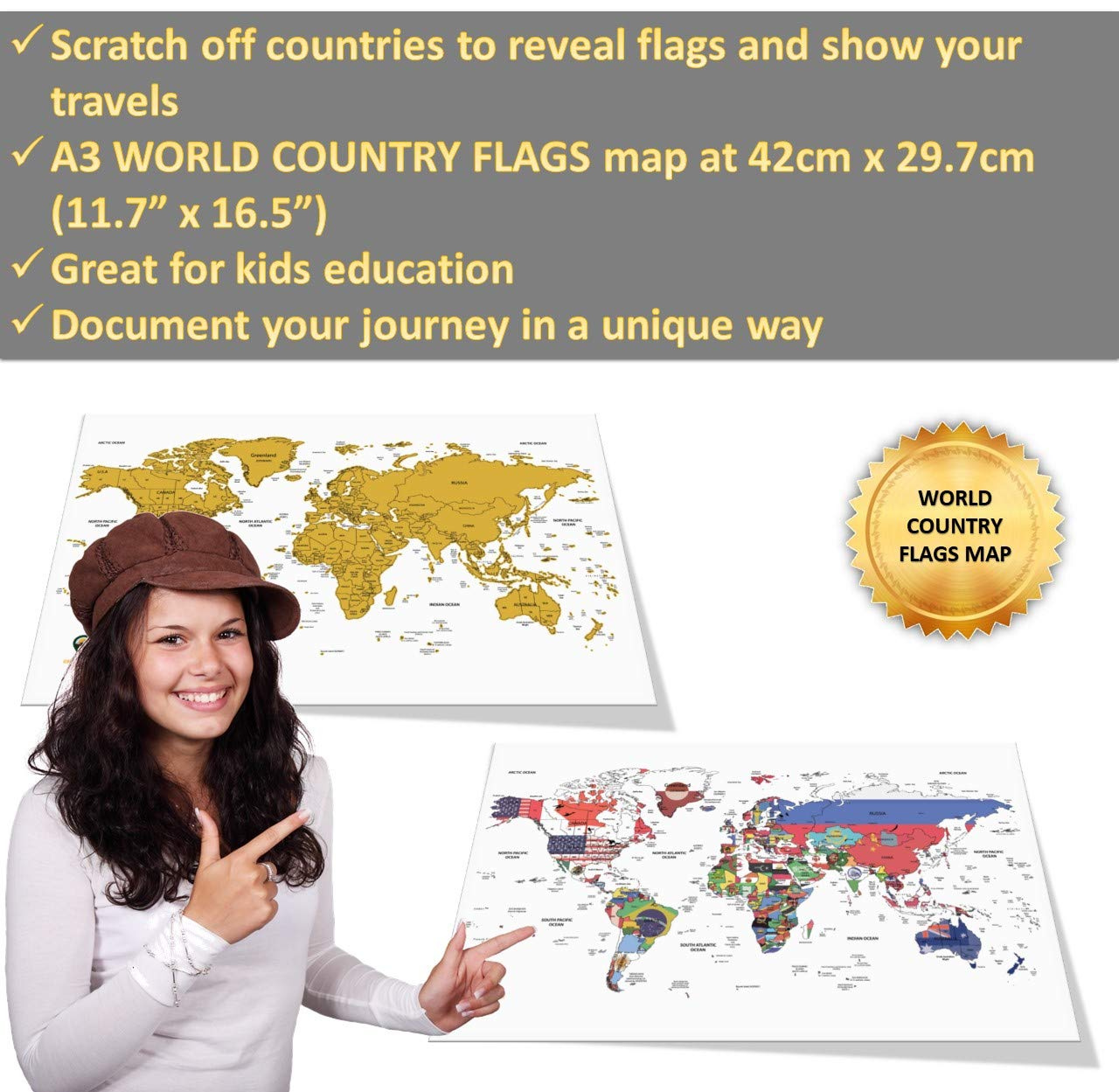 Global Walkabout Scratch Off Map with Flags background Deluxe Travel Size Map