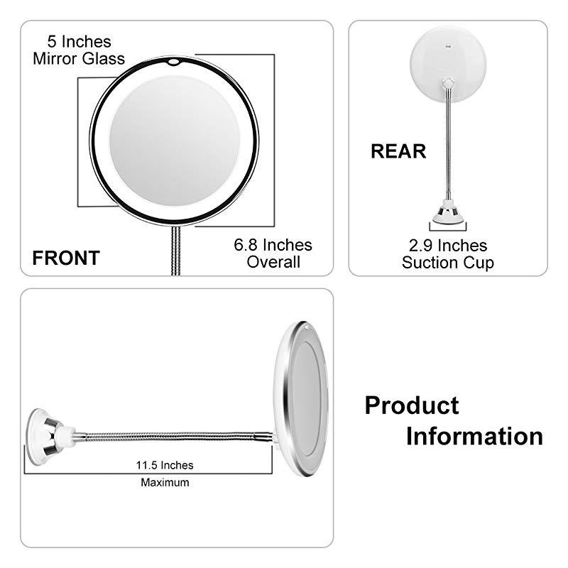 Kedsum Flexible Gooseneck 20cm 10x, Kedsum Flexible Gooseneck 6 8 10x Magnifying Led Lighted Makeup Mirror
