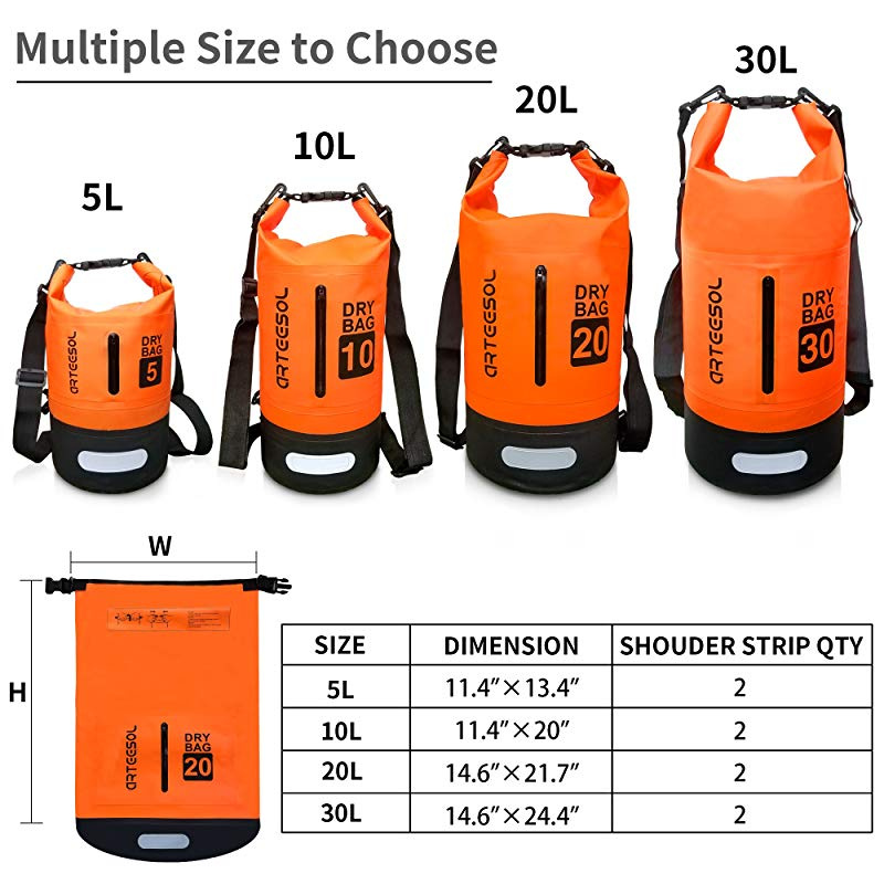 arteesol Dry Bag 5L//10L//20L//30L Waterproof Dry Bag Rucksack with Double Shoulder Strap Backpack for Swimming Kayaking Boating Fishing Travelling Cycling Beach