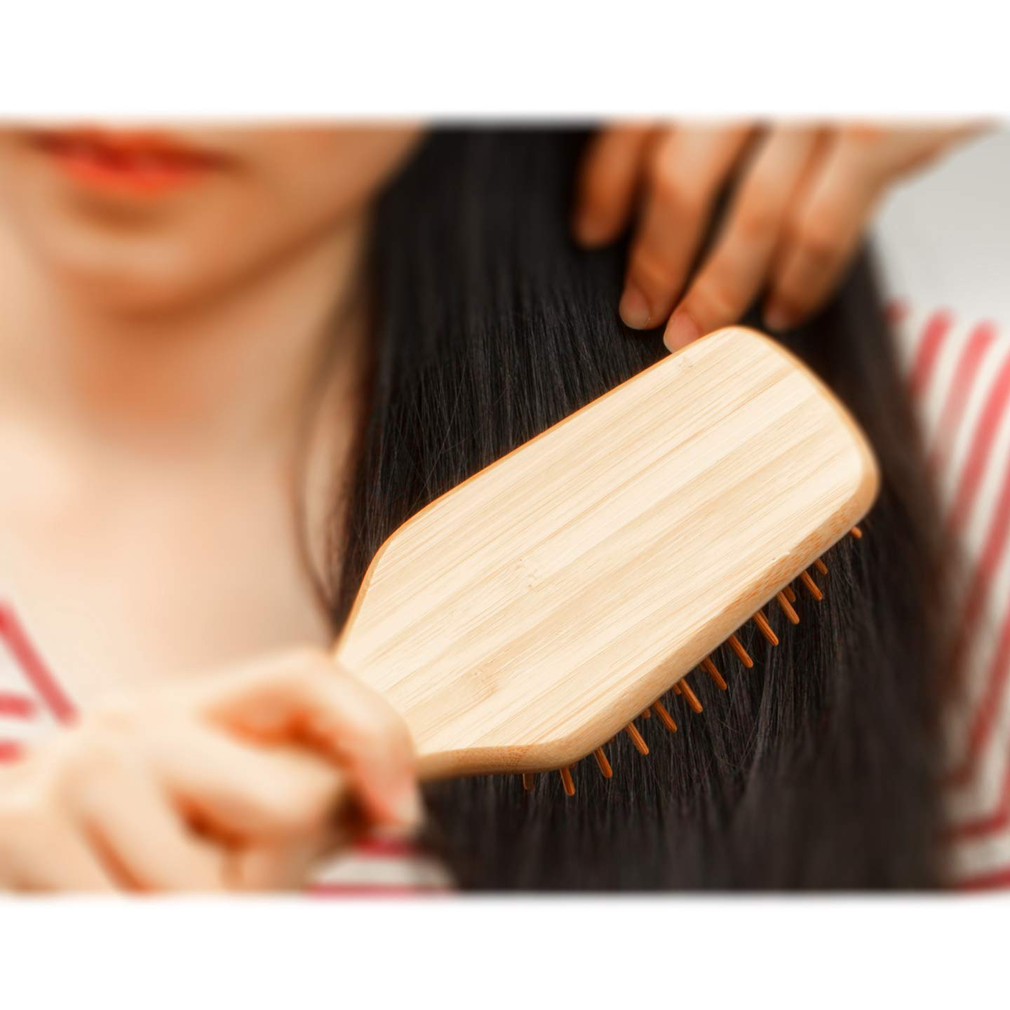 BFWood Bamboo Handle with Bamboo Bristles Paddle Hairbrush for Massaging Scalp Big Handle