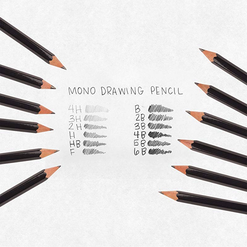 Tombow 51523 MONO Drawing Pencil Set Assorted Degrees 12-Pack Professional Quality Graphite Pencil Set with Eraser and Sharpener